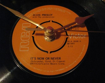 "Elvis Presley it's now or never  7"" vinyl record clock"