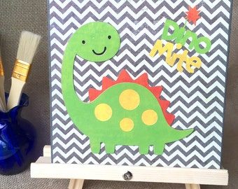 Dino Mite!, dinosaurs, boy, chevron, nursery, wall decor, art