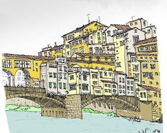 """Pen and Ink Sketch 12"""" x 12"""" Print of Ponte Vecchio Italy"""