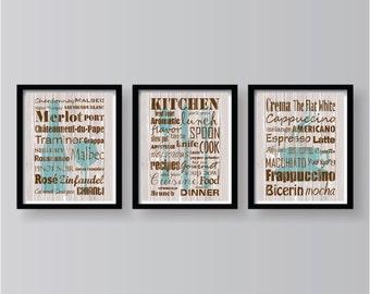 Merveilleux Winter Sale Kitchen Words Teal Brown Decor   Kitchen Wall Art   Kitchen  Prints   Kitchen