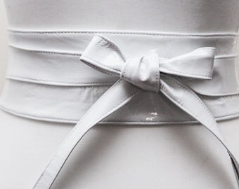 White Patent Leather Belt,  white Leather Obi Belt| White Leather belt | Real Leather Belt| Handmade Belt | Plus size belts