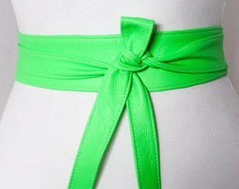 Neon Green Soft Leather Obi Belt | Waist Obi Belt | Leather tie belt | Real Leather Belt | Plus size belts| Obi Sash Belt | cos play