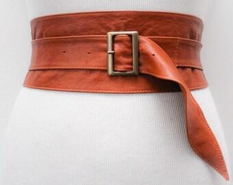 Tan Brown Leather Obi Buckle Belt | Tan Brown Belt | Corset Obi Belt | Leather Buckle Belt | Plus Size Belts
