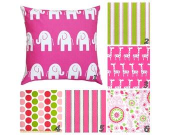 Hot Pink Pillows.Pink Accent Pillows.Throw Pillows.Decorative Pillows.Green  Toss
