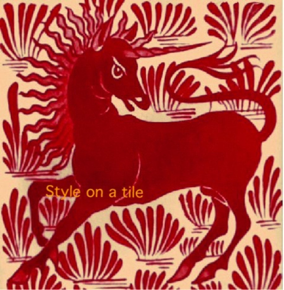 Lovely art and crafts william de morgan red unicorn small ceramic lovely art and crafts william de morgan red unicorn small ceramic tile coaster kitchen bathroom wall splash backs fireplace tile plant stand dailygadgetfo Image collections