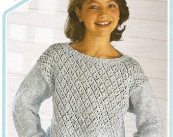 Instant Download - PDF- Lovely Pattern Front Jumper DK Knitting Pattern (C44)