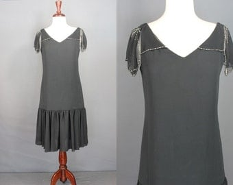 80's Does 20's Dress.......Black 80's Does 20's Dress With Beading