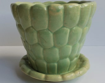 Vintage Brush-McCoy or Brush Mint Green Pebble Planter attached Saucer