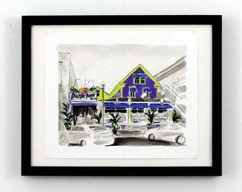 Rehoboth Beach DE Art - Purple Parrot Grill Print