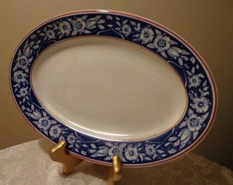 Shenango China Oval Platter, Restaurantware Oval Platter, Blue Floral Oval Platter, Restaurant China Platter