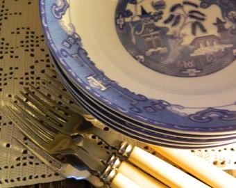 6 x Vintage Royal Norfolk Blue Old Willow Soup/Pasta Bowls