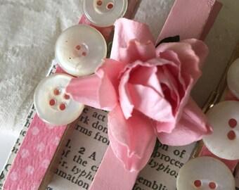 Vintage Pink Rose Wooden Clothespins