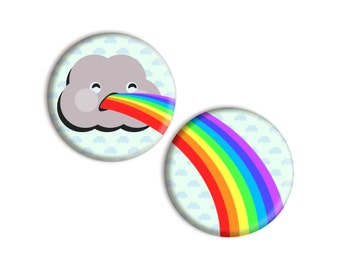 Cloud Vomiting Rainbows cute one-inch pinback button badge set - small pin set