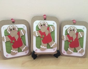 3 x Large Christmas Gift Tags / Gingerbread Christmas Gift Tags