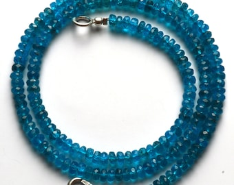 55.00  Carets 16 Inch Strand, Super Finest-Quality- Neon BLUE Apatite Micro Faceted Rondelle  Beads Necklace 3 MM size
