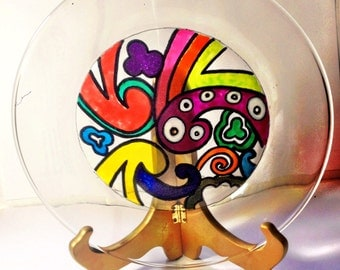 Vibrant, colorful handpainted glass dinner plates (various designs)
