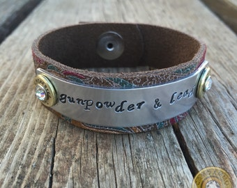 Gunpowder & Lead .38 Special Bullet Casing Paisley Leather Cuff Bracelet