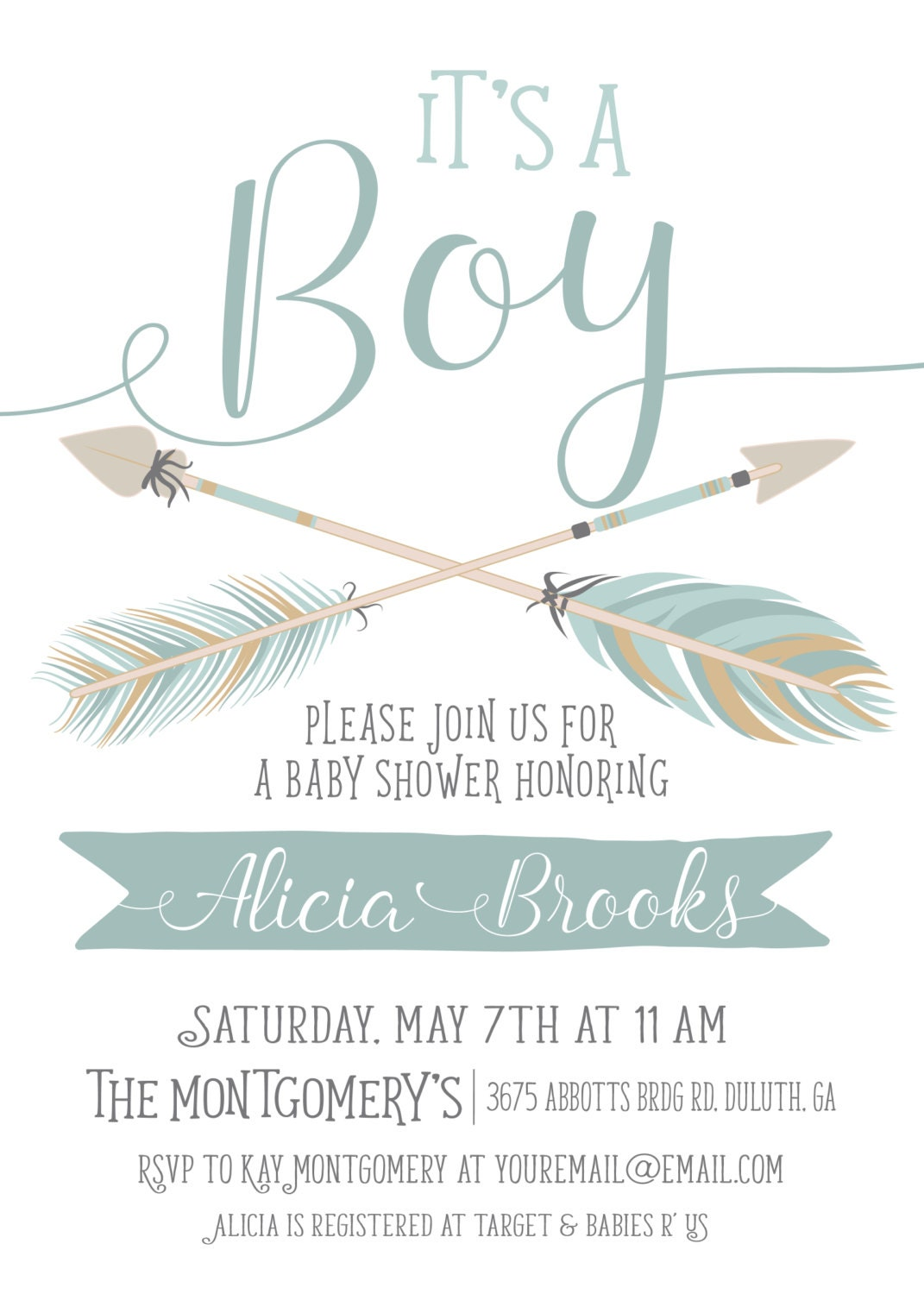 Its a Boy Baby Shower Invitation Light Blue Feather Tribal
