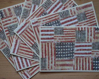 American Flag Note Cards. Veteran's Day Cards. Patriotic note card set. Stars and Stripes Card set. 4th of July cards. Red White Blue Cards