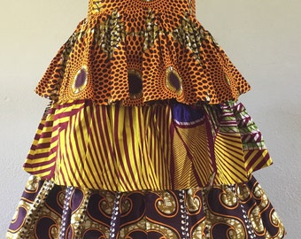 African Wax Print Tiered Skirt Please Read Description For Color Options 100% Cotton Custom Made
