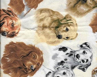 New Dog Toss on Beige 100% Cotton Fabric by the Half yard