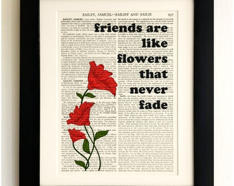 FRAMED ART PRINT on old antique book page - Friends are like flowers Quote, Vintage Wall Art Print Encyclopaedia Dictionary