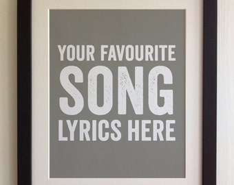 FRAMED Lyrics Print - 20 Colours options, Black/White Frame, Wedding, Anniversary, Birthday, Valentines, Fab Picture Gift