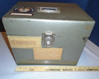 Vintage File Box / Storage Box/ Storage Bin / Metal Box / File Box with Key / File Box / Wally Byam Caravan Club