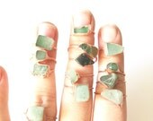 Green Aventurine and Copper Electroformed Rings /// Raw Stone Ring /// Prosperity Stone Ring /// Boho Jewelry