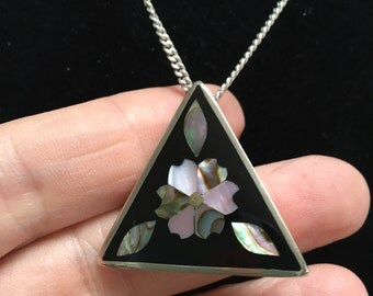 Inlayed abalone pendant and necklace