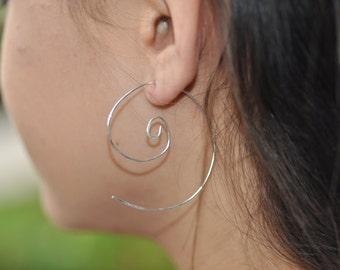 Sterling Silver Tribal Swirl Hoop Earrings, Silver Swirl Hoops, Large Swirl Earrings