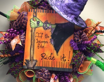 Halloween Wreath, Witches Broom and Hat with Witch Sign