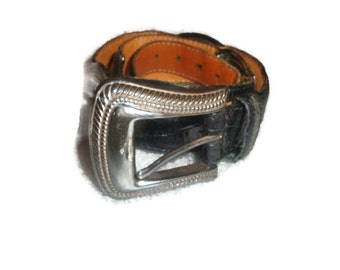 vintage FOSSIL moc croc Black RUSTIC  leather silver tone indie boho belt women size SMALL