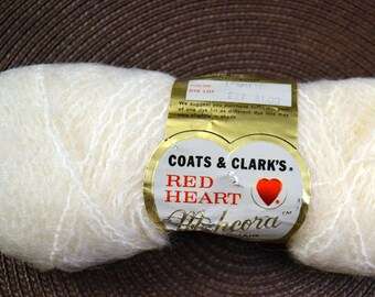 Red Heart Mohair Nylon and Wool Mohcora Knit and Crochet Yarn White