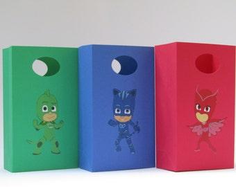 12 PJ Mask Party Favor Bag - Candy Bag -Treat Bag - Goodie Bag - Gift Bag - PJ Mask Boy/Girls Birthday Bag-PJ Mask Classroom Favor Bag