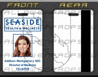 Greys anatomy grey sloan charactor id card replica w greys anatomy private practice seaside id card w clip choice of addison amelia cooper pronofoot35fo Gallery