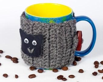Coffee Cup Sleeve, Coffee Cup Cozy, Coffee Mug Cozy, Cat Coffee Sleeve, Tea Cozy, Knit Coffee Cozy Tea Cosy by LoveKnittings