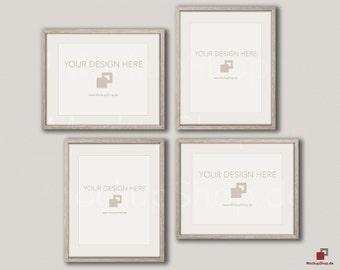 wood mockup frame 24x30 set of 4 frames vertical horizontal frame beige wall old vintage frame mockup vintage nordic style