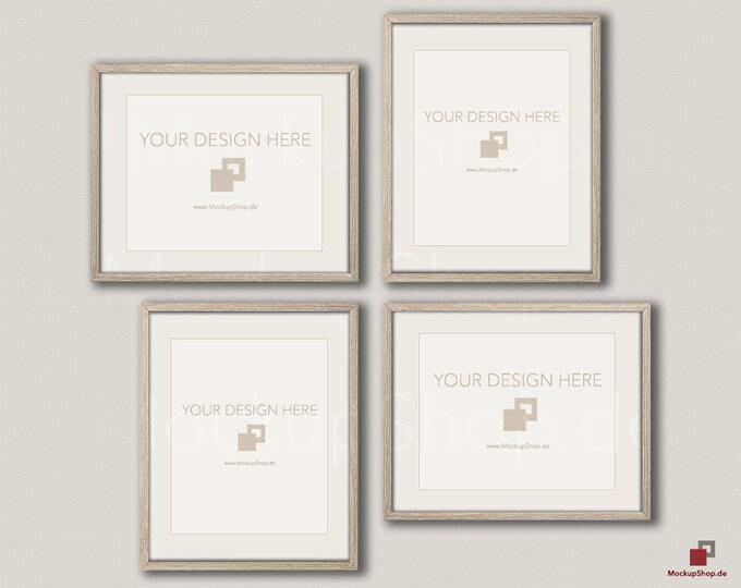Wood MOCKUP FRAME 24x30 / Set of 4 Frames  / vertical & horizontal Frame / beige wall / Old Vintage Frame Mockup / Vintage nordic style