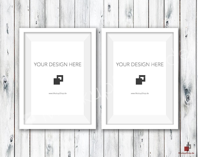 5x7 WHITE FRAME MOCKUP / Set of 2 / Old White Wooden Wall / Frame Mockup /  White Photo Frame Mockup / Instand Download / FrameMockup