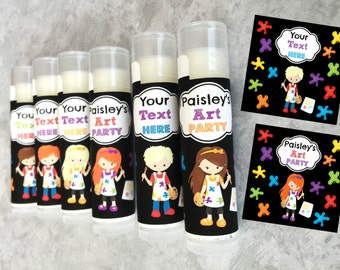 Paint Party Favors - Set of 5 - Art Party Favors - Craft Party Favors - Custom Lip Balm - Paint Night Birthday - Art Birthday Party