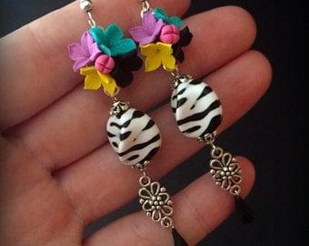 Zebra earrings,Jewelry Animal, Jewelry Zebra, Animal print jewelry, Animal print earrings, Colourful earrings, Dangle Earrings