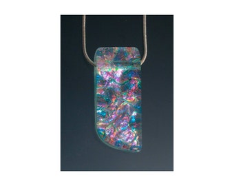 Dichroic Pendant - Sm Asyemmtric Curved - Pink/Multi/Blue-SO7a, Rectangle Pendant