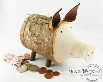 Piggy bank Wooden Piggy Bank Moneybox cash gifts pig moneybox piggy money Deko gift wrapping tip