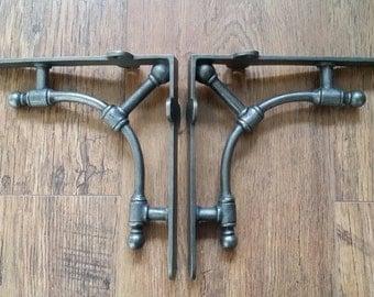 "Gas Pipe Industrial Style Brackets 1 Pair 7"" x 7.5""  Wall Shelf Brackets Cast iron Bracket DIY gift"