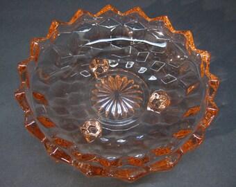 American Pattern 3 Footed 6 inch Bowl Salmon Color Bon-Bon Bowl Candy Dish
