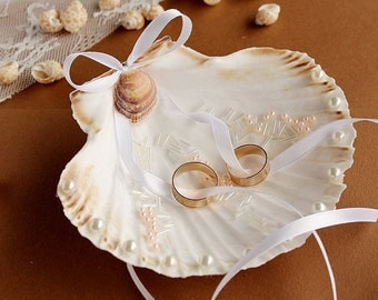 Beach Ring Bearer, Seashell Ring Holder, Exotic Ring Bearer, Beach Ring Pillow, Natural Seashell, Ring Bearer Shell, Costal Wedding Decor