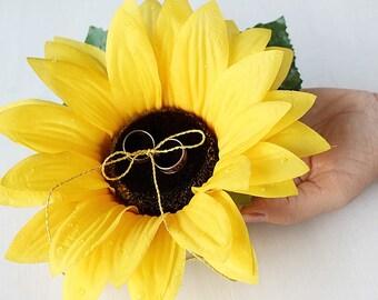 Sunflower Ring Pillow, Fall Wedding, Flower Ring Pillow, Wedding Ring Pillow, Ring Bearer Pillow, Flower Ring Bearer, Sunflower Ring Holder