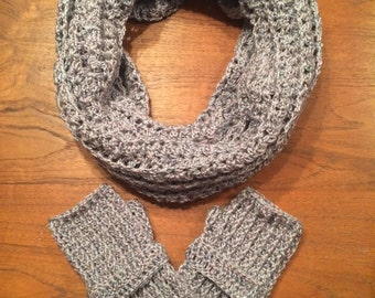 New Year's Infinity Scarf with Fingerless Gloves