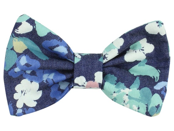 Denim Floral Baby Hair Clip Toddler Hair Bow Clip Blue Floral Hair Clip Bow Classic Hair Green Floral Toddler Hair Clip Bow Denim Floral Bow